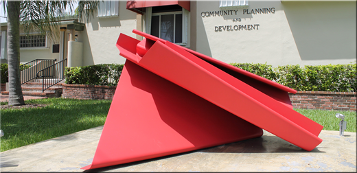Community Planning and Development Building with Red Sculpture