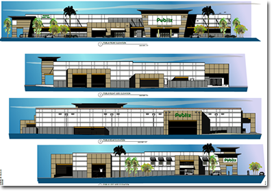 Blueprint Renderings of the Publix Building